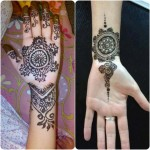 black circular tikka mehndi design for hands