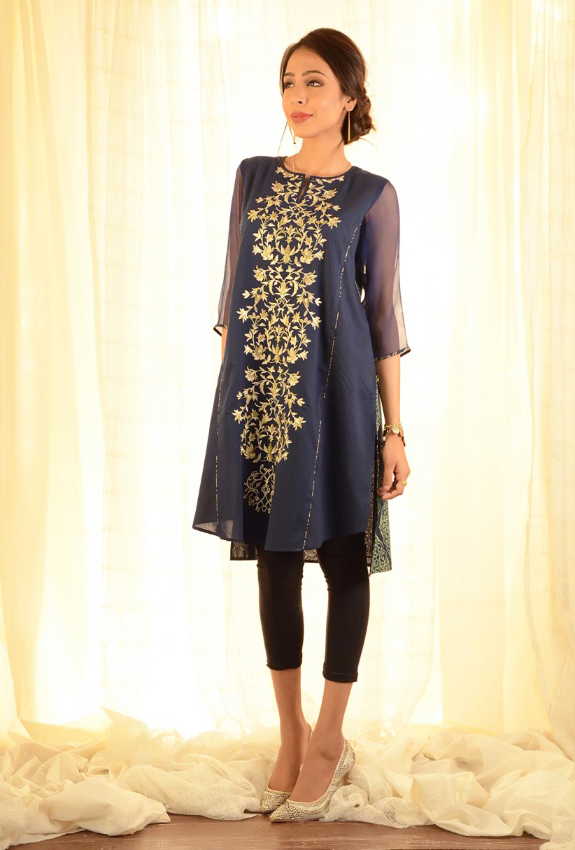 Ego Navy Embroidered A-line Shirt for Eid