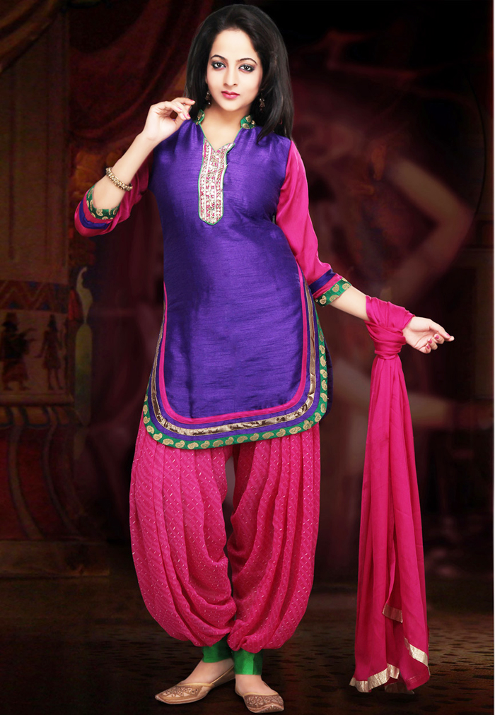 Indian Party Wear Shalwar Kameez Blue & Pink Outfit