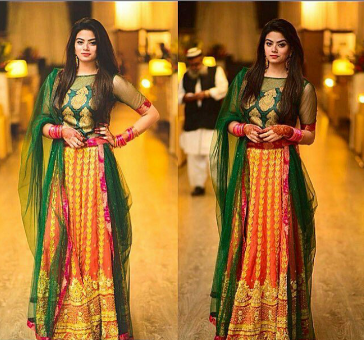 Mehndi Outfit Ideas : Latest pakistani dresses and frocks for wedding