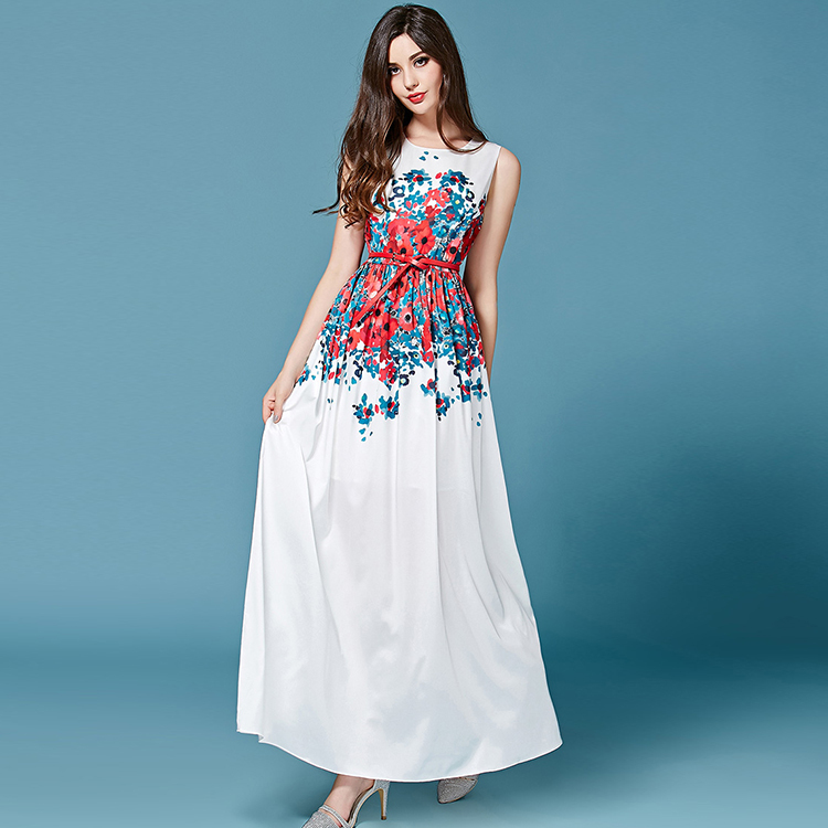 Floral Printed White frock for Casual Wear