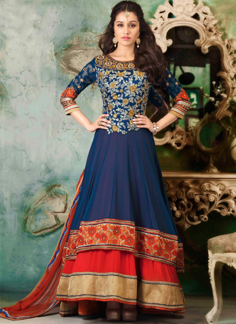 Anarkali Frock Indian Royal Blue for Wedding Party