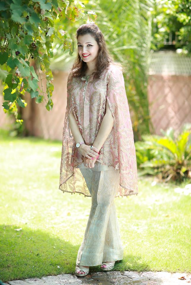Pakistani Boutique Style Fancy Cape Shirt with Bell Bottom Trouser