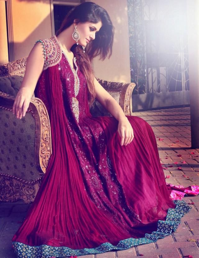 Pakistani Magenta Fancy Maxi Dress for Party