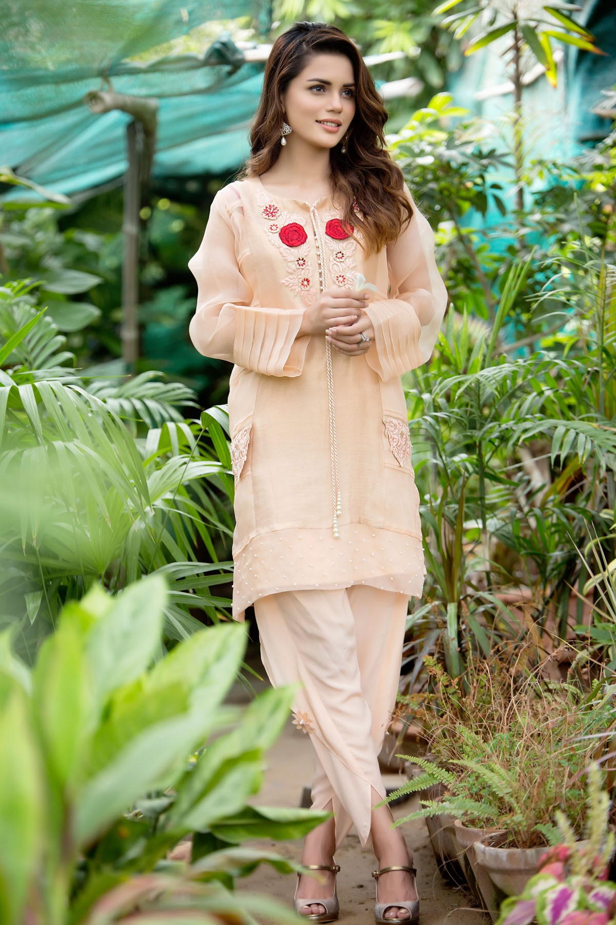 Tulip Pants with Peach Embroidered Tunic
