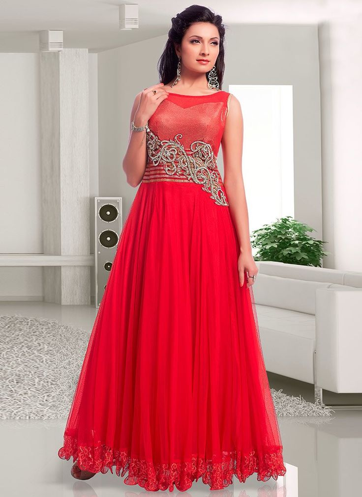 Pakistani Designer Red Maxi Style Frock for Party