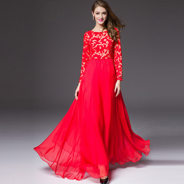 Red Stylish Long Maxi Frock for Party Wear
