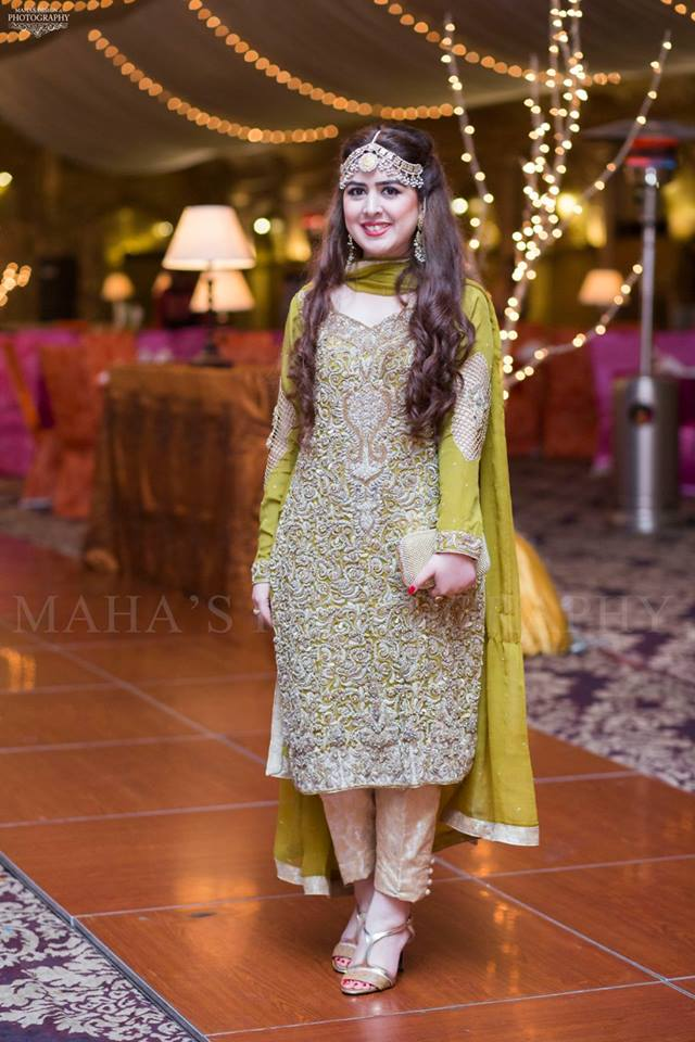 Pakistani Boutique Style Yellow Embroidered Boutique Dress for Mehndi