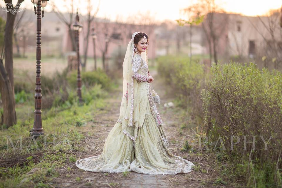 Pakistani Bride Pista Lehnga with silver embroidery