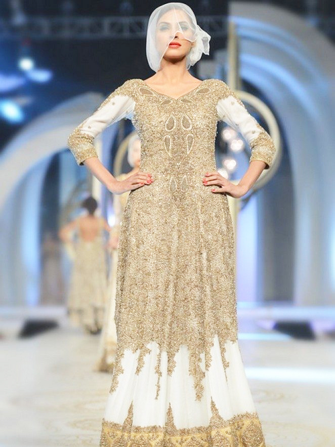 Long HSY Bridal Walima Maxi with Gold Embroidery