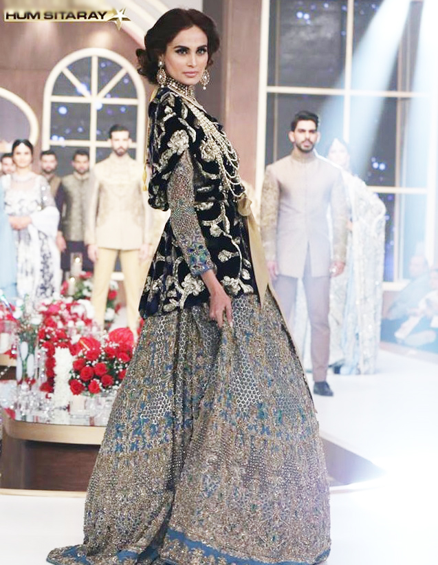 Black Heavy Embroidered Bridal Lehenga by HSY