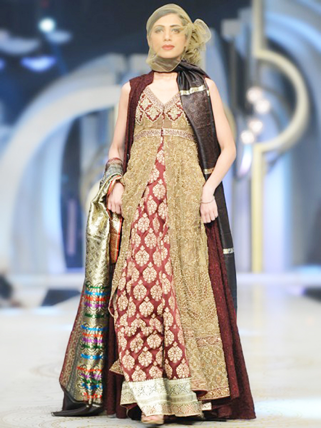 HSY Maroon Gown Style Dress for Pakistani Brides