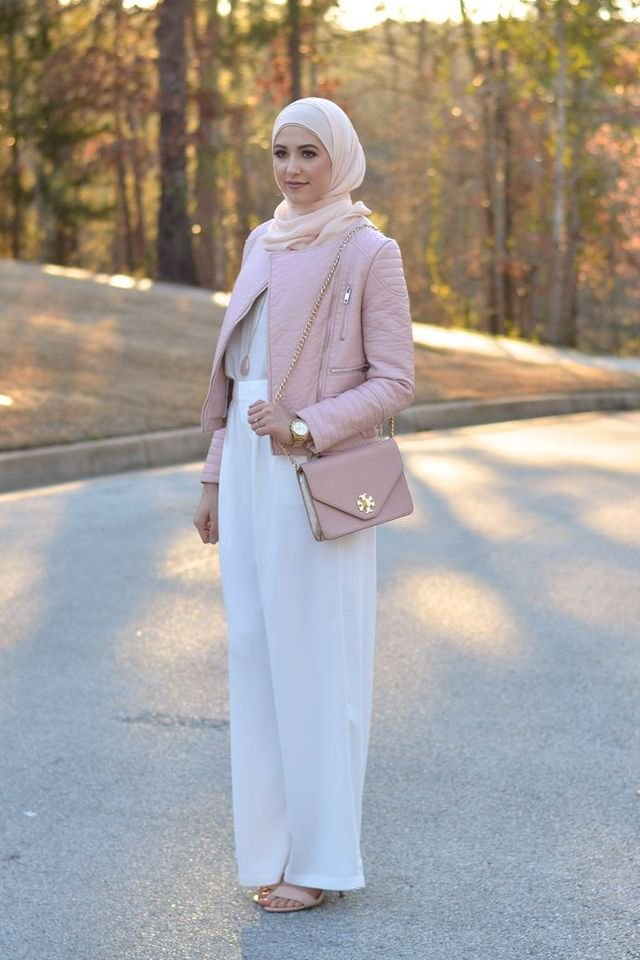 elegant hijab with white trousers and jacket