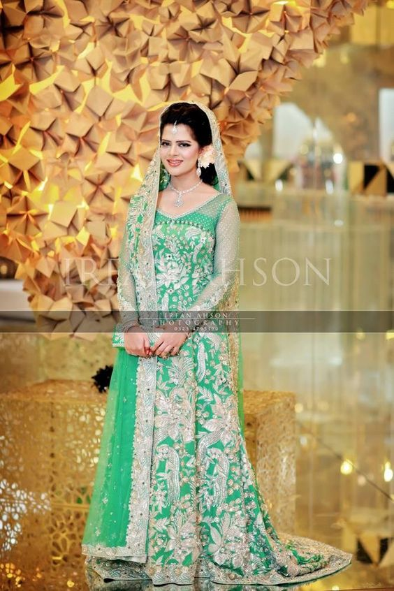 long tail green winter bridal maxi