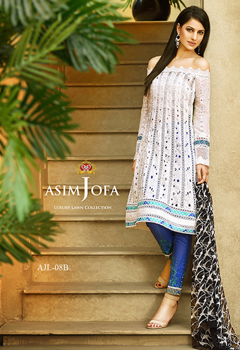 Asim Jofa off-the-shoulder luxury pret paired with narrow trouser