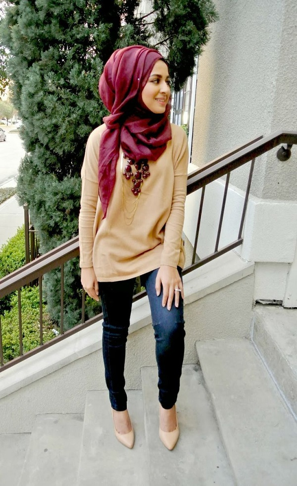 jeans with hijab style for modern girls