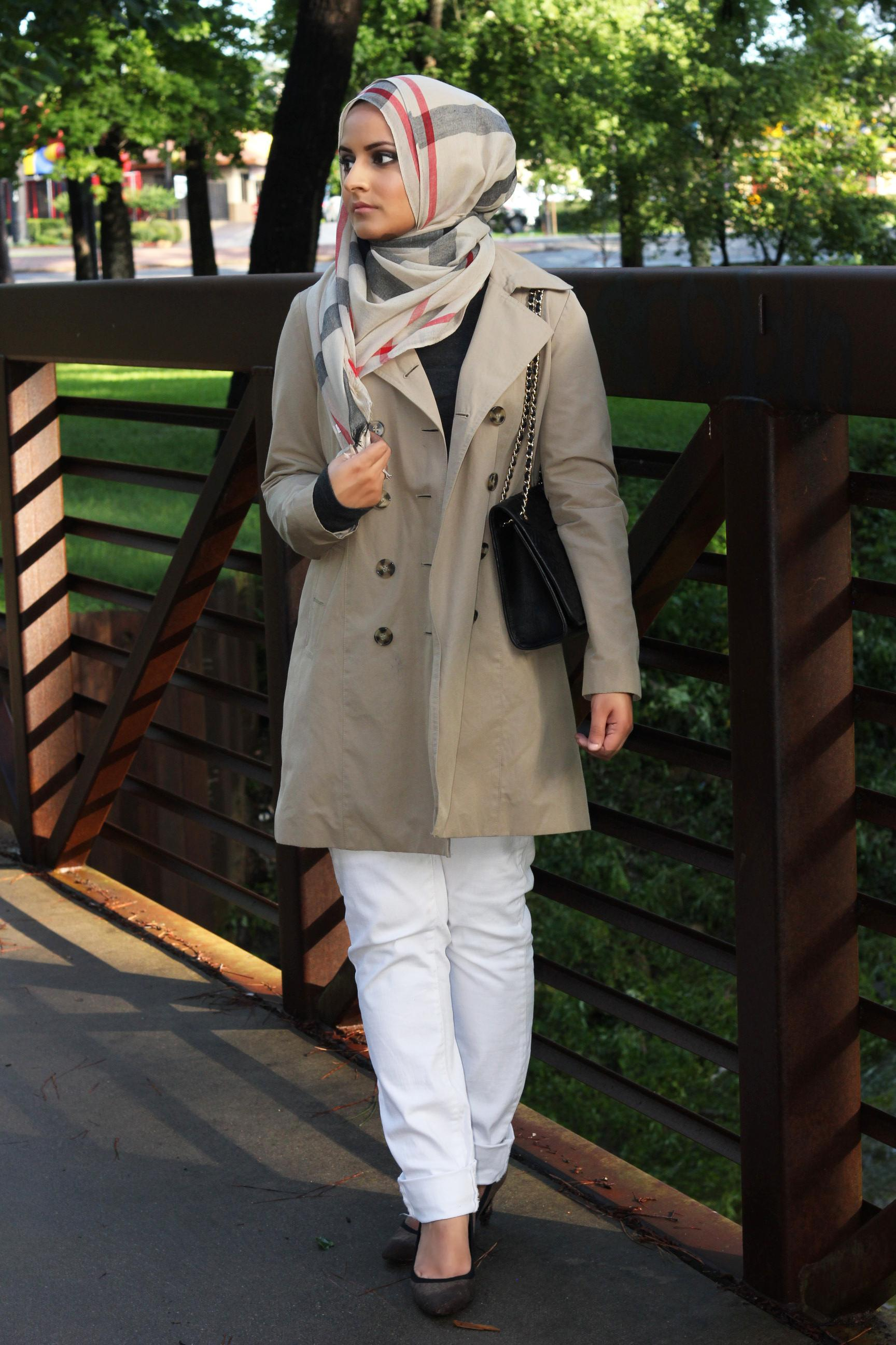 winter hijab style with coat for girls