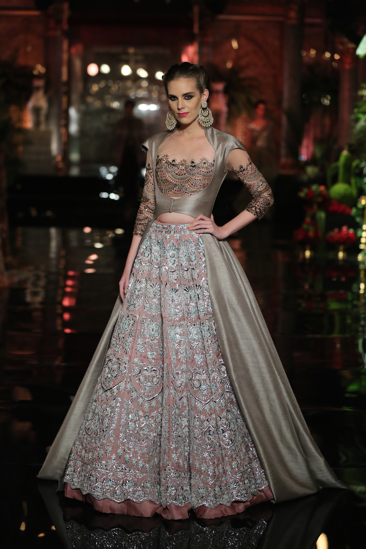 Grey crop top lehenga with large volume