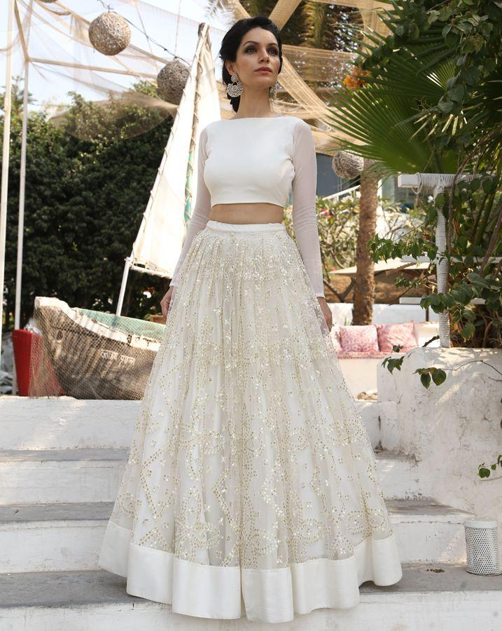 crop top white party wear net gown with simple patch