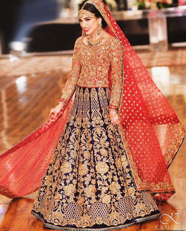 designer crop top bridal wear lehanga