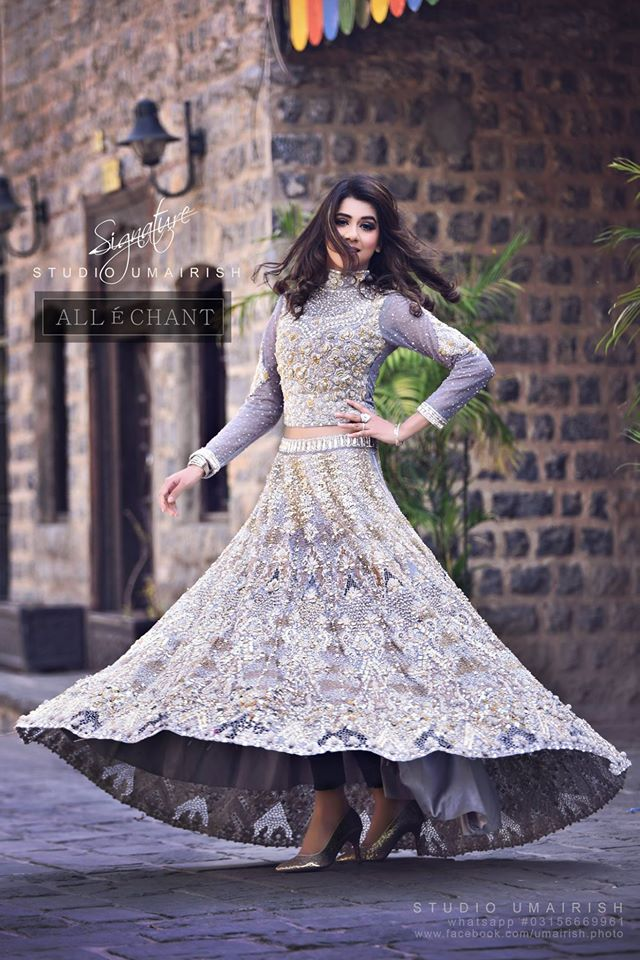 Allechant fancy top with lehenga winter party dress