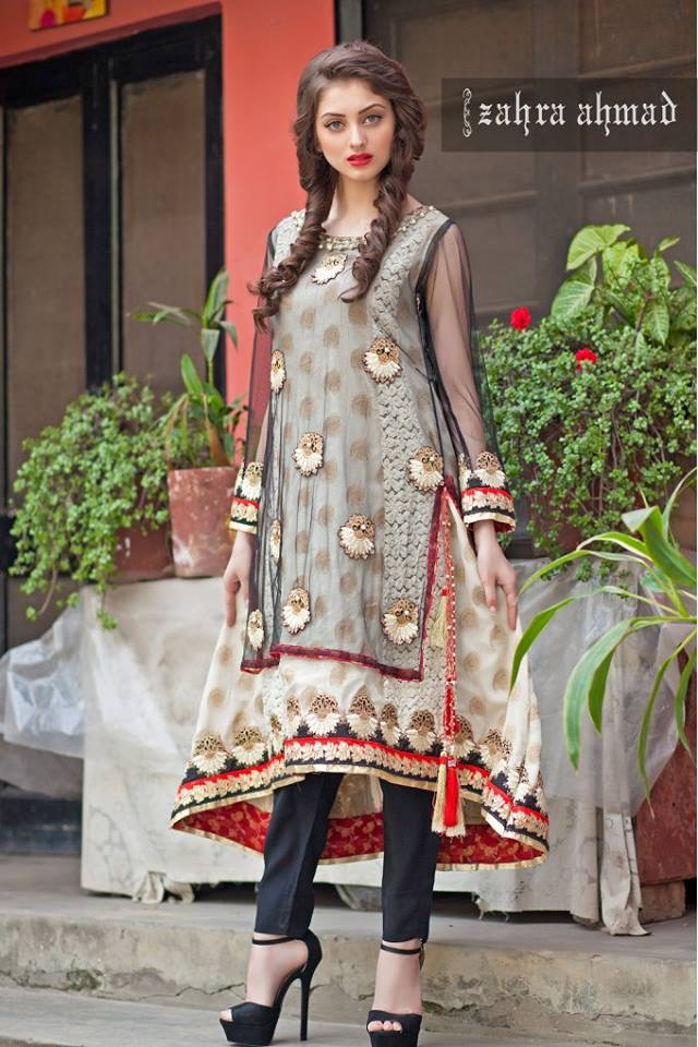 Zahra Ahmad embroidered winter party wear frock