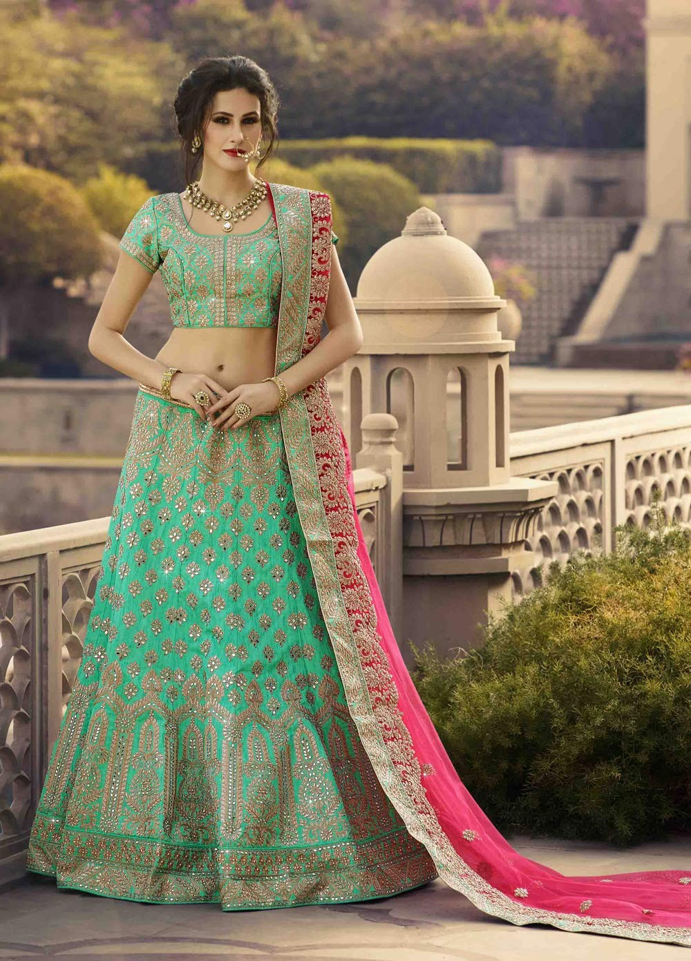 green ethnic pakistani bridal designer wear crop top lehenga
