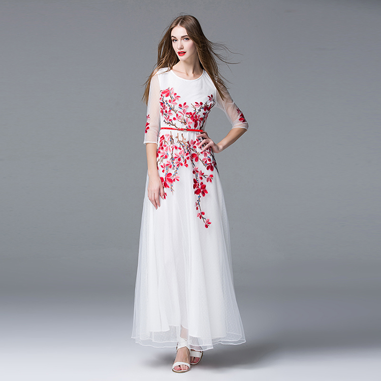 luxurious floor length belt frock with red floral embroidery