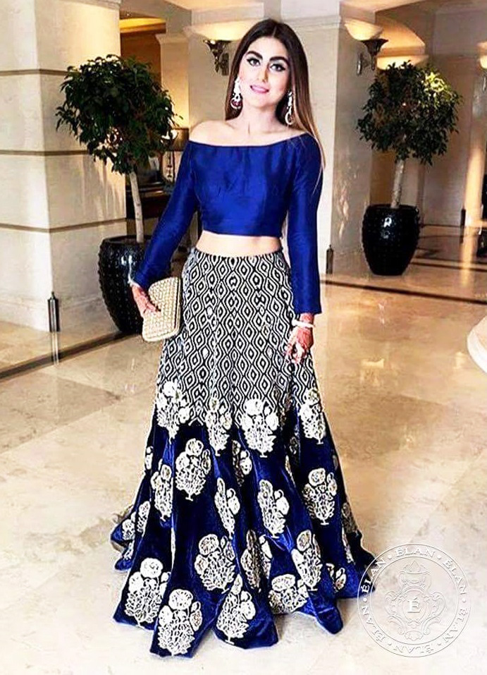 off-the shoulder royal blue crop top with lehenga