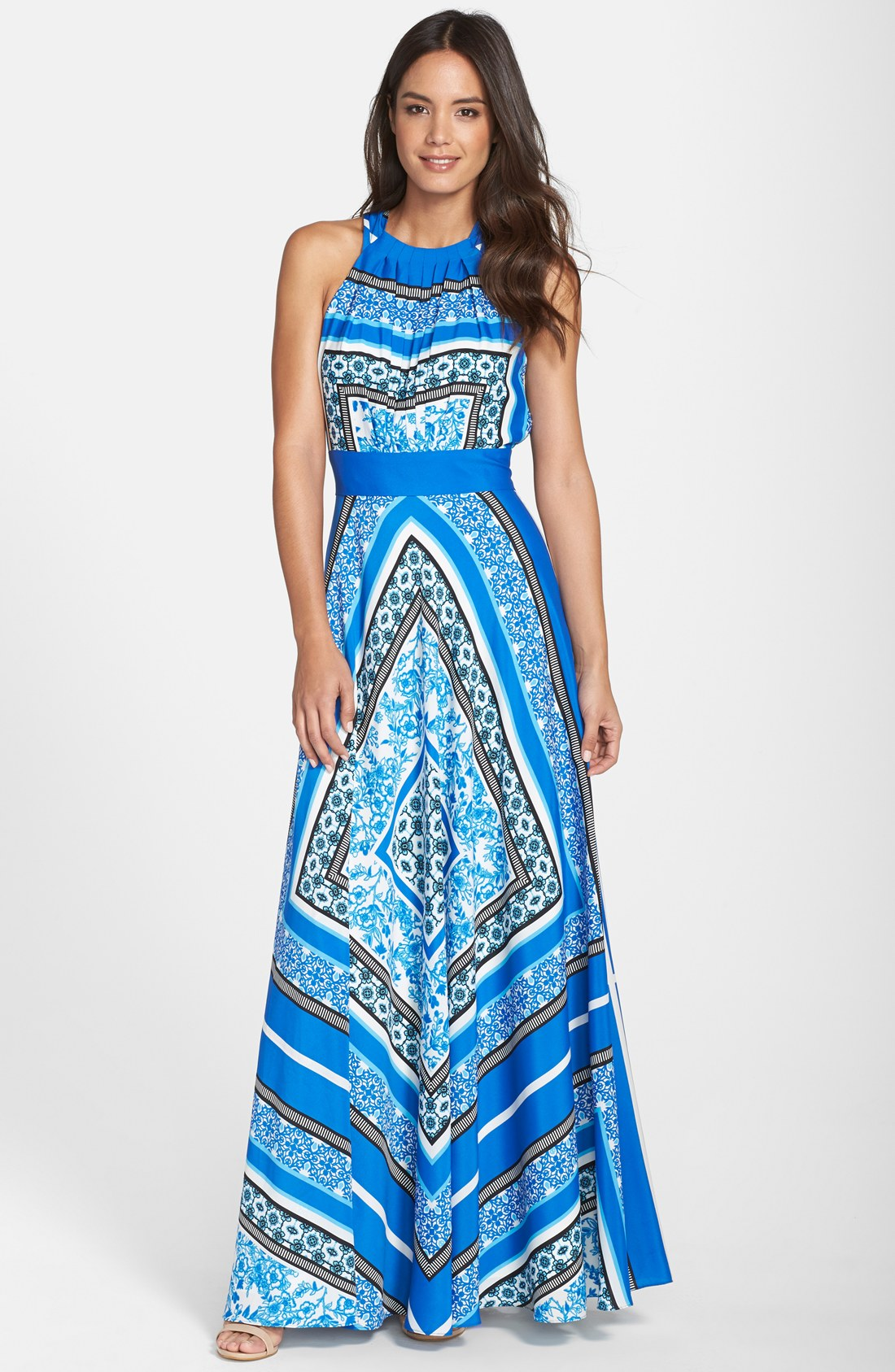 simple waist belt on printed straight maxi