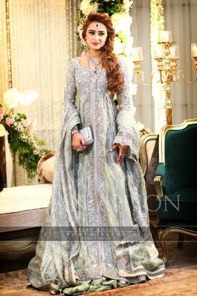 straight wedding wear frock with heavy embellishments