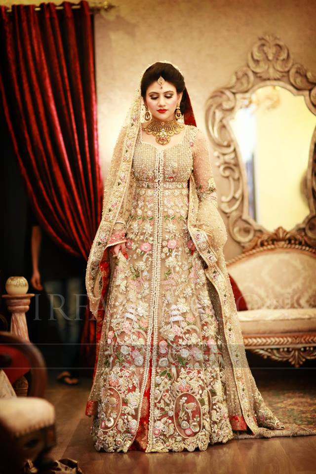luxurious bridal frock with open front