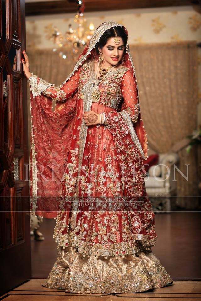 bridal wear frock paired with sharara