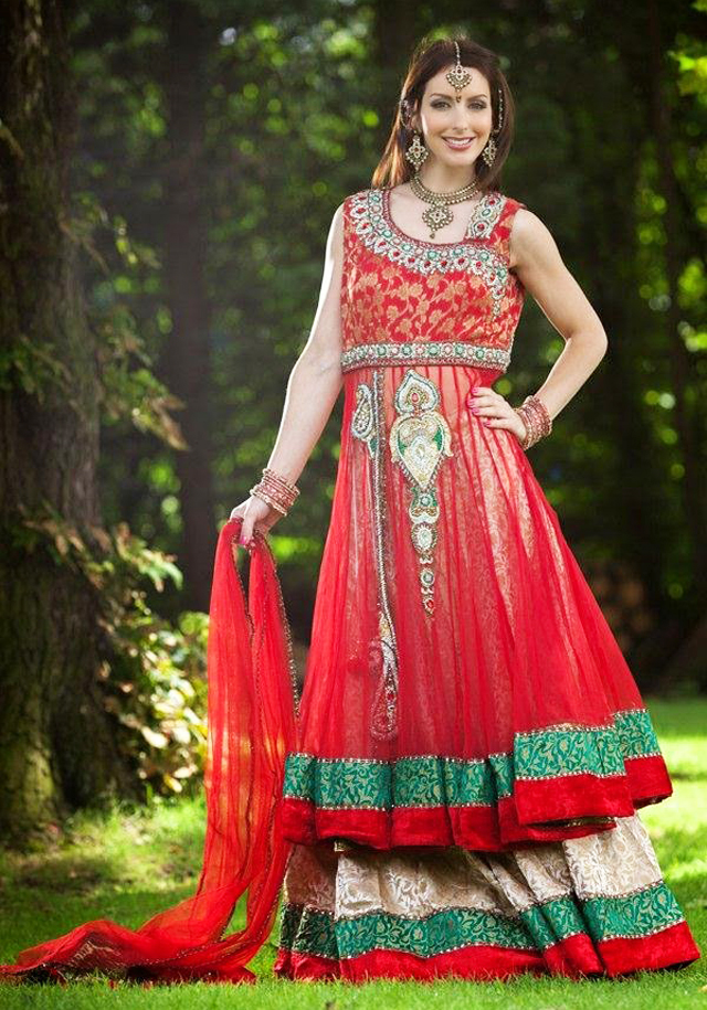 frock with lehenga having contrasting patches on borders