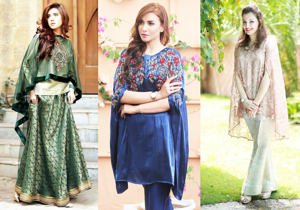 Latest Pakistani Dresses With Bell Bottom Trousers 2018