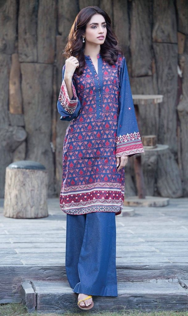 Pakistani Kurta Designs For Ladies Blue printed kurta
