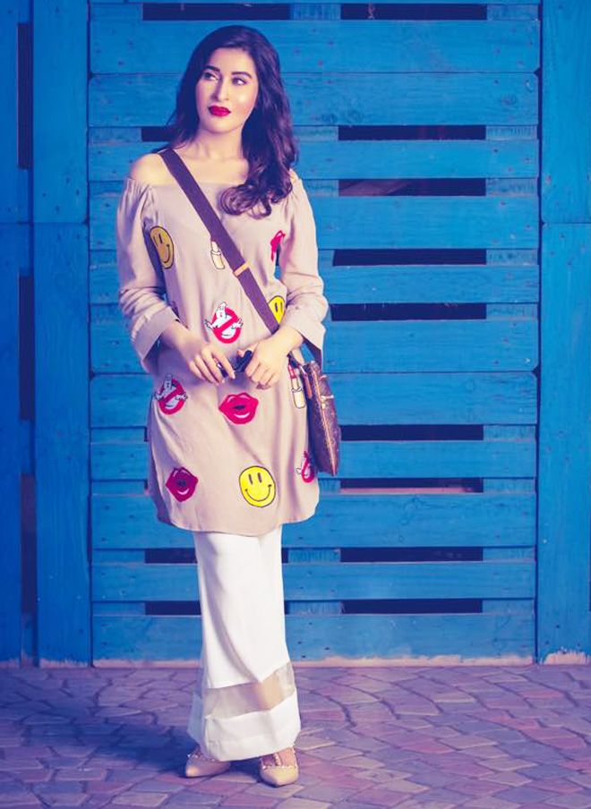 Pakistani Dresses With Bell Bottom Trouser for casual style