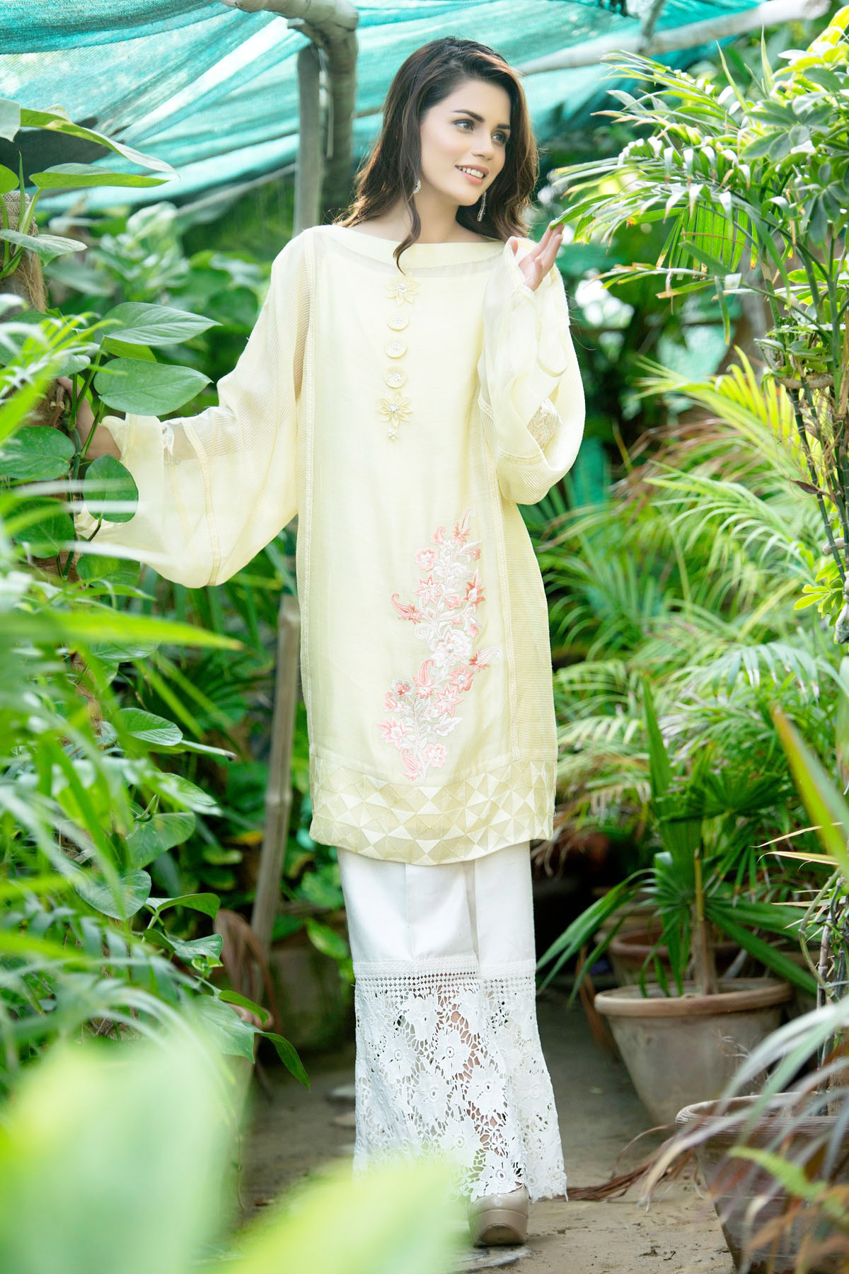 Pakistani Dresses With Bell Bottom Trouser for girls