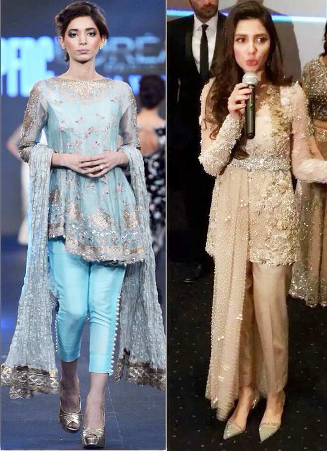 pakistani short fancy frocks with capris for wedding