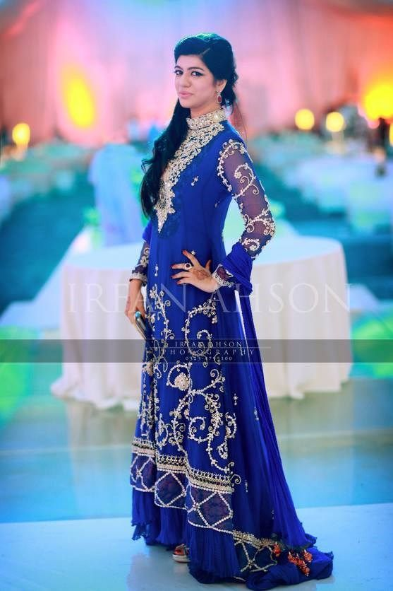 royal blue wedding guest tail frock with silver sequences