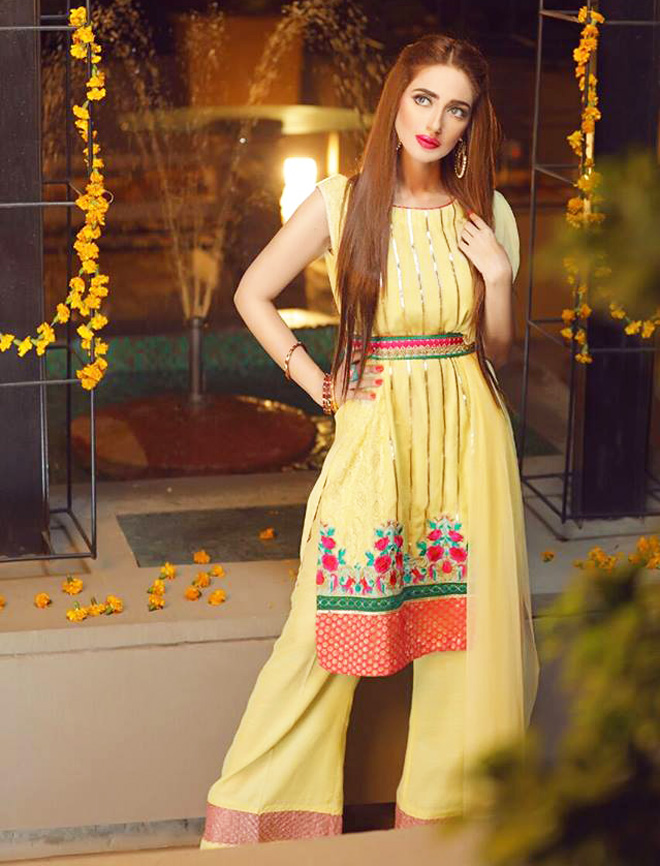 yellow waist belt dress with bell bottom trouser