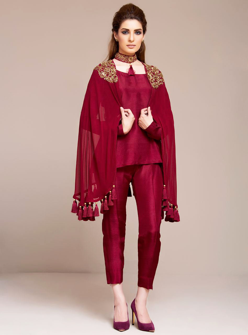 Zainab Chottani New Formal Dresses Maroon Organza Wrap