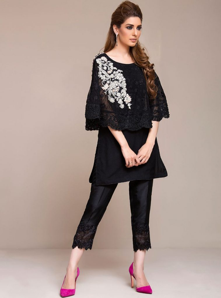 Zainab Chottani New Formal Dresses Black Cape dress