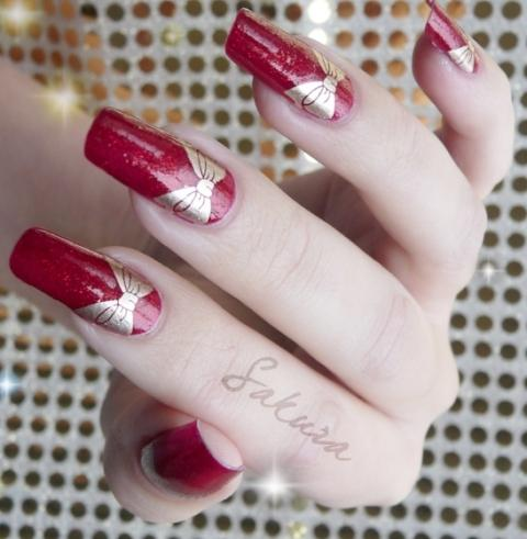bridal nail art design for long nails