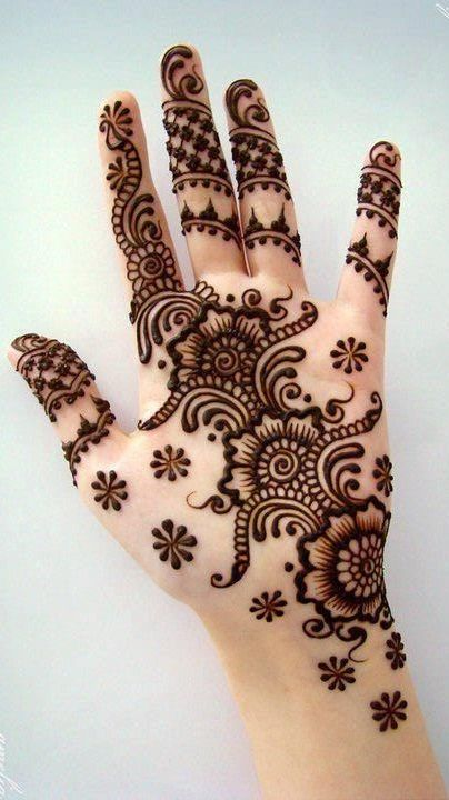 front hand Turkish henna design