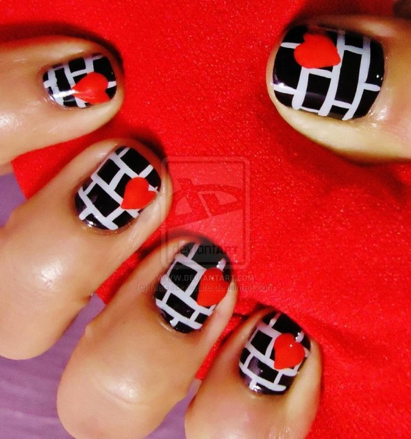 lovely valentine nail art design
