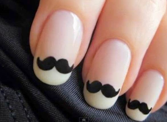 moustache nail art design