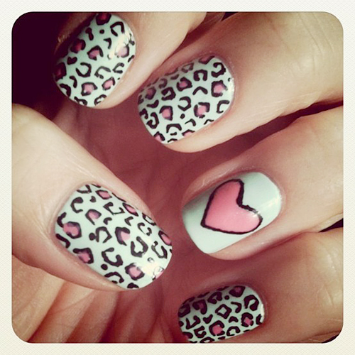 nails art leopard print on valentines