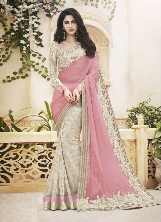 Pink and off white Georgette Saree walima Collection