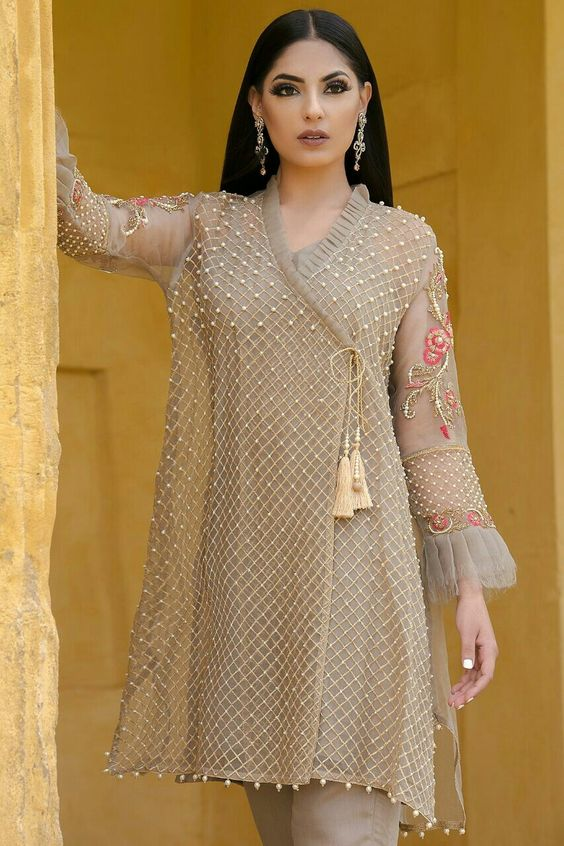 Stitching Styles Of Pakistani Dresses Grey Angrakha Style